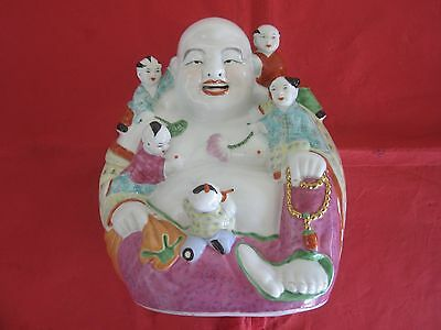 Antique / Vintage Porcelain Laughing Buddha with Children