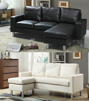 FoxHunter Modern PU L-Shaped Corner 3 Seater Sofa With Chaise Longue Home PLS01