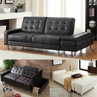 FoxHunter PU Sofa Bed With Storage 3 Seater Guest Sleeper Ottoman Stool PSB04