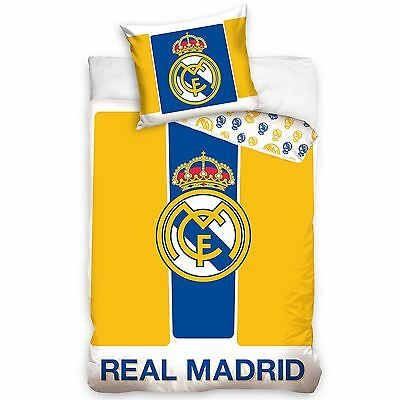 Real Madrid Cf Yellow & Blue Single Duvet Cover Set Football Bedding 100% Cotton