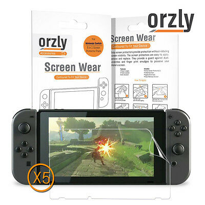 Orzly Nintendo Switch Screen Protector Film for Nintendo Switch 5 Pcs