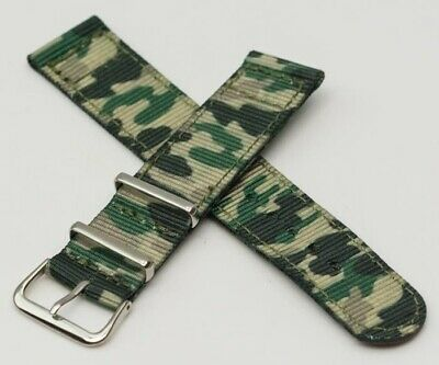 TOUGH 20mm Watch strap army style nylon canvas band camouflage military green