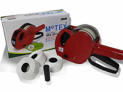 2 x Motex 2612 Date Coder + 10 Rolls Each / Best Before / Use By / White Perm