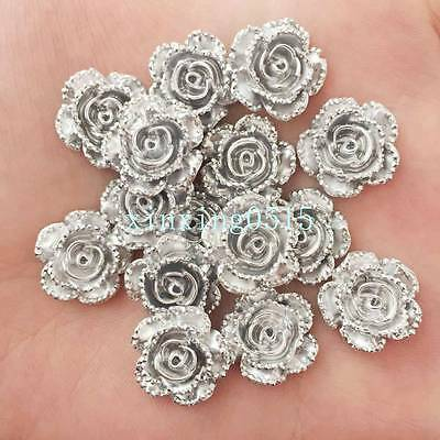 New 20pcs 14mm Resin rose Flatback stone scrapbook Wedding buttons DIY  /silver