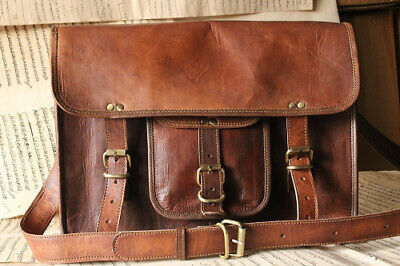 "New Mens Large Vintage Leather Messenger 15"" Laptop Briefcase Satchel Bag Brown"