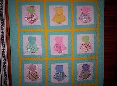 Old Fashioned  ' Sunbonnet  Sue' Crib  Quilt....aqua / Yellow...reduced  Price..
