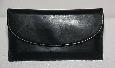 Woman's Coach Black Leather Long Bifold Wallet & Check Book Cover