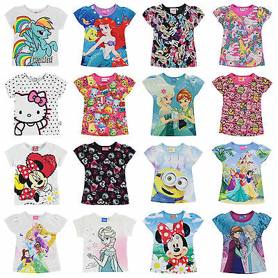 Girls Character T Shirt Top Short Sleeve Ages 2 - 13 Shopkins Frozen Disney