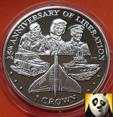 2007 FALKLAND ISLANDS 1 One Crown Liberation Vulcan Bomber Silver Proof Coin