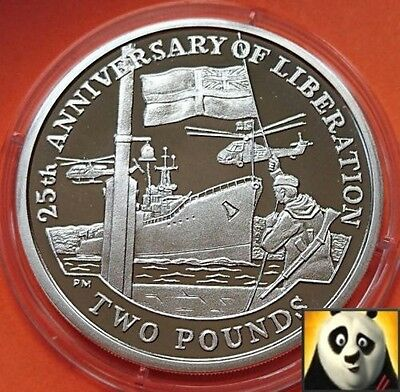 2007 FALKLAND ISLANDS £2 Two Pounds Liberation HMS PLYMOUTH Silver Proof Coin