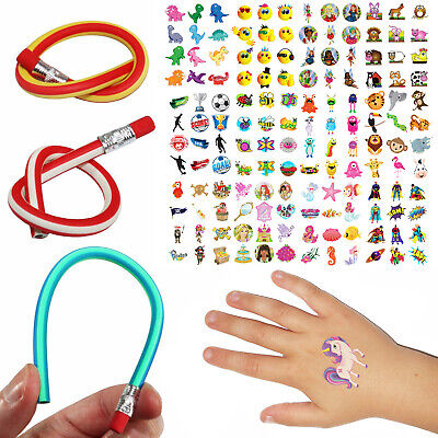 144 Kids Transfer Tattoos & 1 Bendy Pencil (12 Mixed Designs) Party Bag Filler