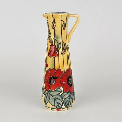 """Old Tupton Ware """"YELLOW POPPY"""" Hand Painted Tube Lined Slim jug (9"""") TW 1690"""