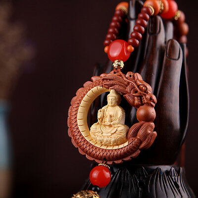 Box-Wood Carving Chinese Kwan Yin Buddha Dragon Statue Prayer Beads Car Pendant