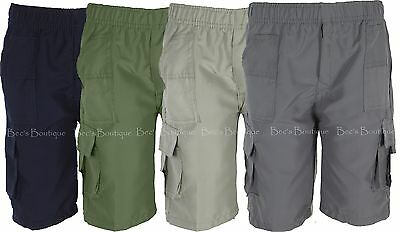 Boys Shorts Plain Coloured Elastic Waist Cargo Style Kids Clothes Ages 3-14 Year