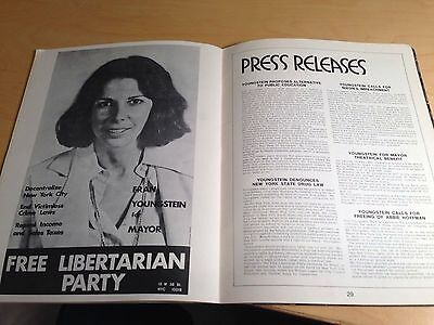 Francine Youngstein for Mayor 1973 NYC campaign yearbook Libertarian 3rd party