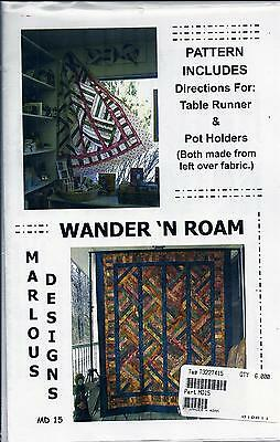 "WANDER 'N ROAM 65"" x 79"" QUILT PATTERN, TABLE RUNNER & POT HOLDER MARLOUS DESIGN"