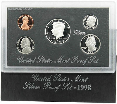 1998 United States Mint ANNUAL 5 Coin SILVER Proof Set Free Shipping in the USA