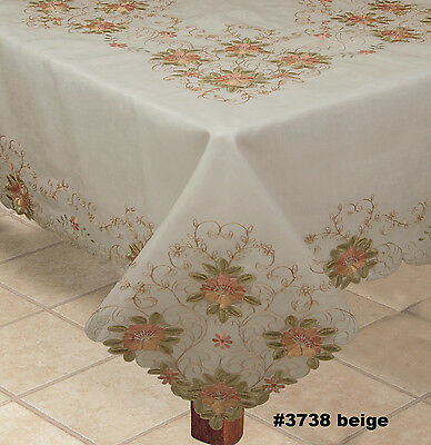 Spring Embroidered Peach Floral Cutwork Sheer Tablecloth & Napkins BEIGE 3738E