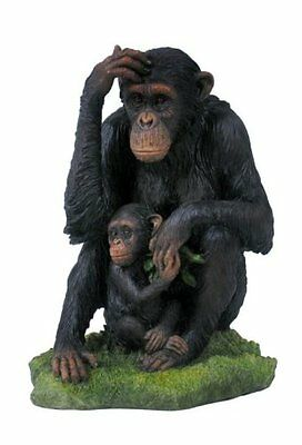"7.25"" Chimpanzee & Baby Statue Sculpture Figurine Animal Decor Figure Wildlife"