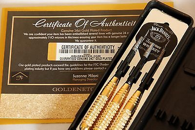 Luxury 24Ct Gold Plated Harrow Darts Set Jack Daniels 24Gram Knurled In Gift Box