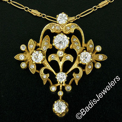 "Vintage 14k Yellow Gold 1.95ctw European Diamond Pendant w/ Fancy 18"" Vtg Chain"