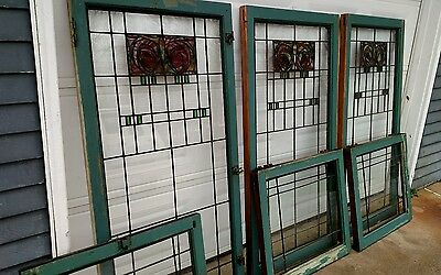 Stained Glass Windows French Doors Arts & Crafts Period - Large Lot 37 Windows