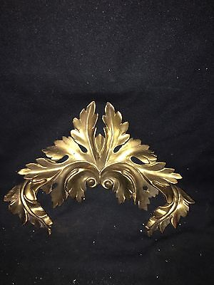 "1880's 13 1/2"" Carved Wood Gold Gilded Pediment"