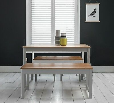 Dining Table with 2 Benches Dining Set Kitchen in Choice of Colours Annika