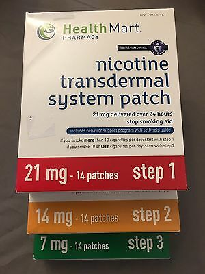 Health Mart Nicotine Transdermal System Patch Steps 1, 2, & 3 (14 patches each)