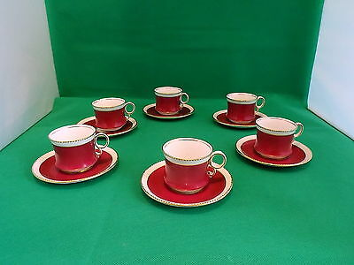 Royal Albert Burgundy / Gold Demitasse Cups & Saucers x 6