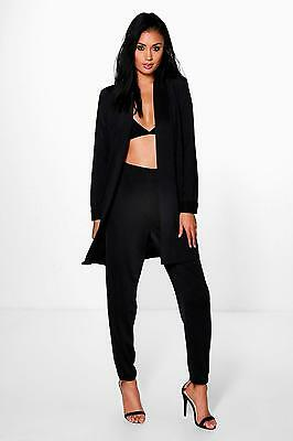 Boohoo Jessica Slinky Tapered Trouser & Duster Co-Ord Color Black Size 4 US NWT