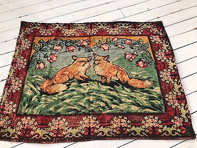 Antique CHASE Mohair/Horsehair Carriage Sleigh Lap Robe Blanket~ Fox glass Eyes