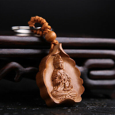 Kwan Guan Yin Leaf Wood Carving Sculpture Chinese Pendant Key Chain Keyring