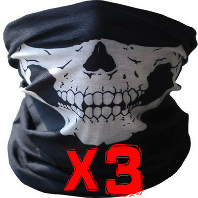 3x BANDANA FACE SHIELD MASK FISHING HEADWEAR BIKER NECK TUBE SCARF SKULL HEAD
