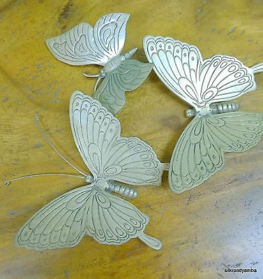 """3 used hand made silver over brass BUTTERFLY ornament 4"""" wide stautes"""