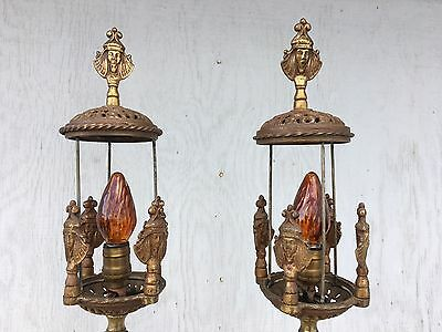 Antique Egyptian Revival Cast Iron Brass Victorian Floor Lamps Pair Torchiere