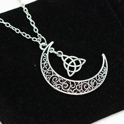 Hot Celtic Triquetra Trinity Knot Silver Plated Long Chain Moon Necklace Pendant