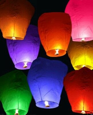 7pcs UFO Fly Lanterns Chinese Paper Wish Lamp Sky Candle Flying Fire Party