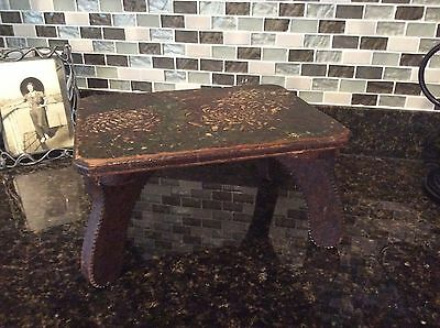 Old Handmade Tramp Art Foot Stool Carved Antique Wood Furniture Victorian
