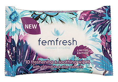 ツ Femfresh Intimate Hygiene 10 Freshening & Soothing Wipes Calendula And Aloe