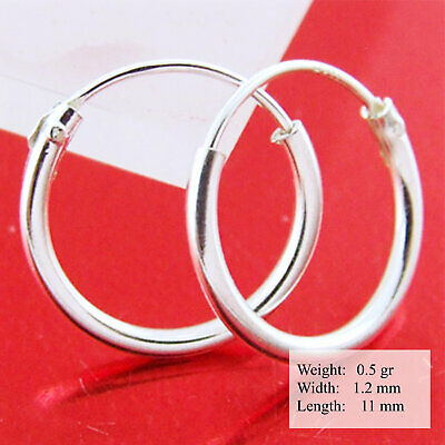 Cyf69 Genuine 925 Sterling Silver Small Sleeper Hoop Earrings Baby Kids Size 7Mm