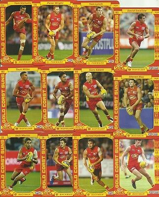 2017 Afl Teamcoach Gold Coast Suns Common Base Team Set 12 Cards