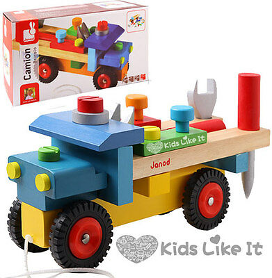 Janod KIDS BOYS Wooden 2 IN 1 DIY Pull Along TRUCK Building BENCH Tool PLAY SET