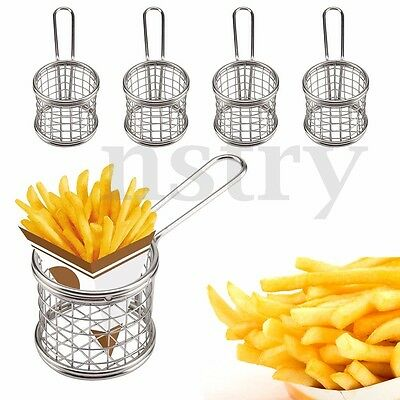 Round Mesh Wire French Fry Chips Baskets Net Strainer Kitchen Cooking Tools 4Pcs