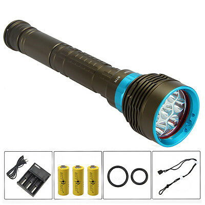 16000Lm 7x XML L2 LED Rechargeable Scuba Diving Flashlight Torch Light 26650