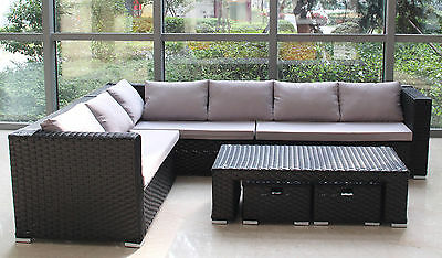 Large 8 Seater Rattan Garden Furniture Sofa Table Set Conservatory Outdoor Patio