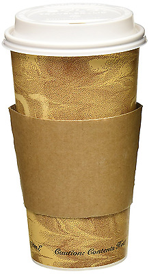 50 Pack 20oz Hot Paper Cups with Lids and Sleeves Brown Drink coffee