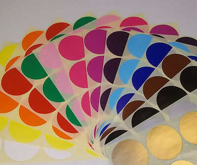 25mm Mixed Pack Assorted Round Coloured Code Circles Dots Stickers Sticky Labels
