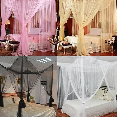 4 Corner Mosquito Net Mesh Canopy Insect Queen King Size Netting Curtain Dome AU