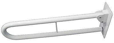 "35mm White Drop Down Self-Locking Fold Away Bathroom Support Rail - 30"" (750mm)"